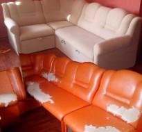 Перетяжка углового дивана. Фото