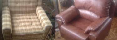 Перетяжка мягкого кресла. Фото