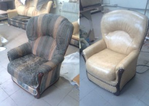 Замена ткани на кресле. Фото